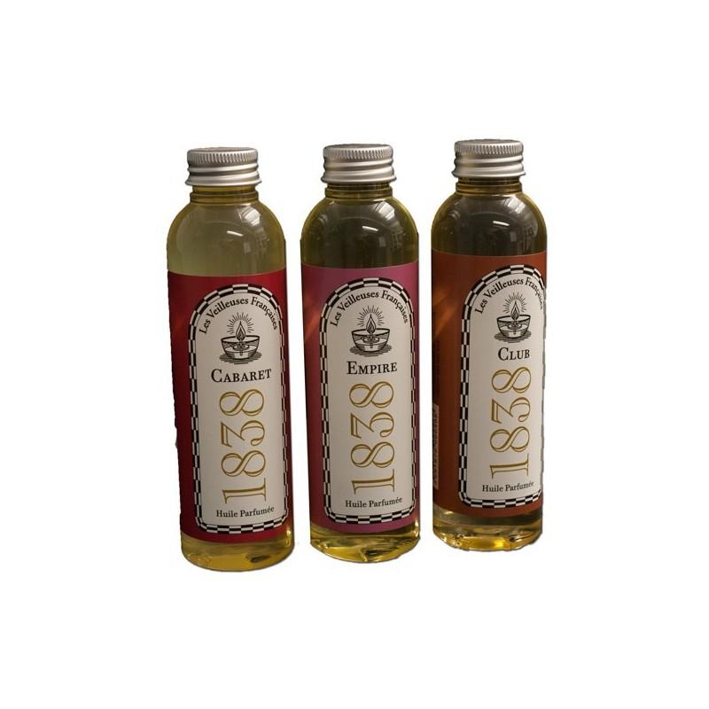 """Coffret découverte 3 Flacons d'huiles végétales parfumées """"CABARET 1838"""" """"CLUB 1838"""" """"EMPIRE 1838"""""""